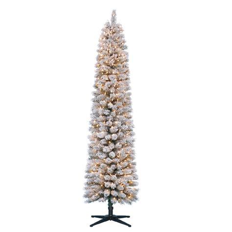 pencil christmas trees clearance 7 flocked pencil pine tree shimmer season at sears