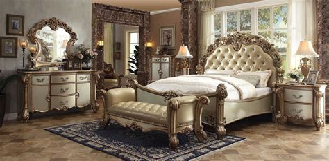 pc gold patina vendome bedroom set  acme furniture