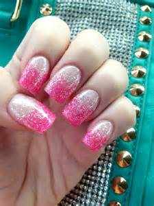 Pink Glitter Gel Nails with Silver