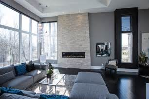 Modern Grey Living Room with Fireplace