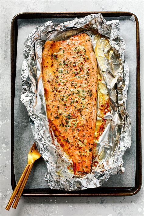garlic butter rainbow trout  foil recipe grilled