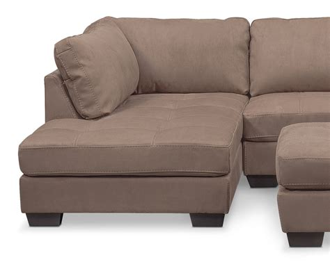 chaises taupe santana 2 sectional with left facing chaise and cocktail ottoman set taupe