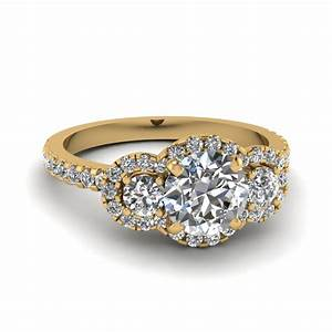 round cut three stone halo diamond engagement ring in 14k With wedding ring stones