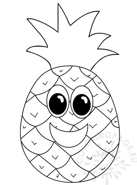 pineapple  smiling face coloring page