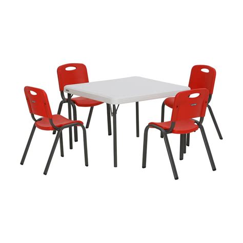 lifetime tables and chairs lifetime 5 piece red and white children 39 s table and chair
