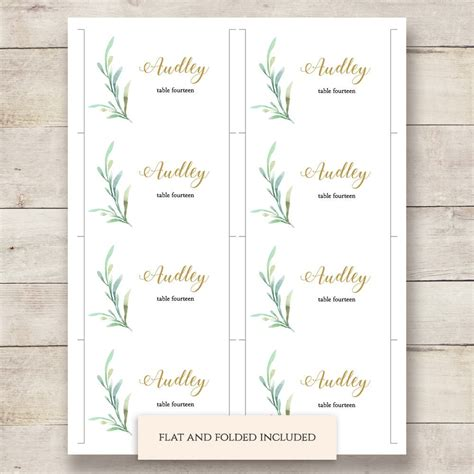 greenery wedding table place card template flat