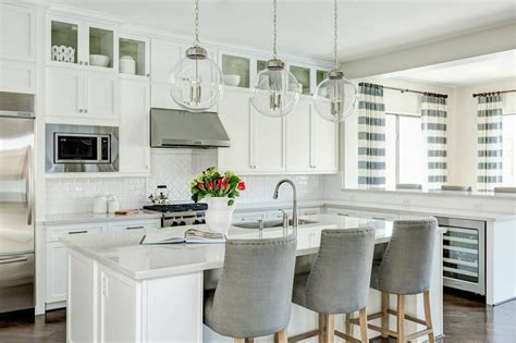 White Kitchen with Gray velvet Counter Stools and White