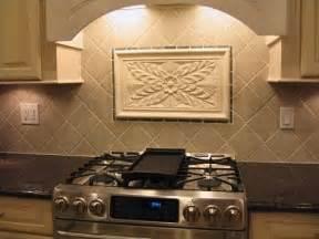 Decorative Kitchen Backsplash Crafted Kitchen Backsplash Tiles Using Colonial Flower Tile And Decorative Liners By
