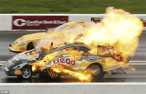 Er, I Think The Engine's On Fire... Moment A Drag Racer's
