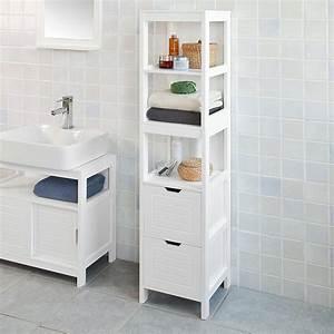 Haotian, White, Floor, Standing, Tall, Bathroom, Storage, Cabinet, With, Shelves, And, Door, Linen, Tower