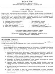e commerce sales resume operation manager resume sles