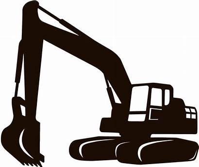 Construction Silhouette Backhoe Icon Excavator Site Clipart
