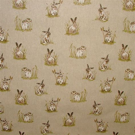 Linen Upholstery Fabric by Vintage Linen Look Country Side Animals Digital Print