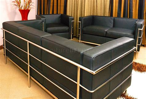 Sofa Loveseat And Chair Set by Le Corbusier Style Grande Sofa Loveseat Chair Set In Black