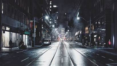Street Night Road Background Canada Toronto Buildings