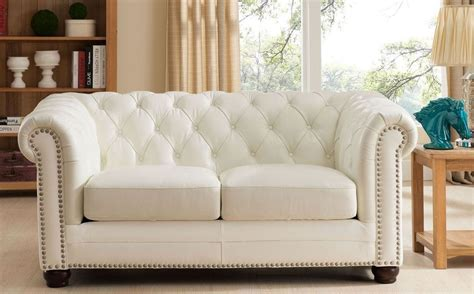 White Leather Loveseat by Monaco Pearl White Leather Loveseat From Amax Leather