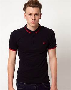 4459b330db fred perry fred perry slim fit small collar polo exclusive to asos in blue  for men lyst