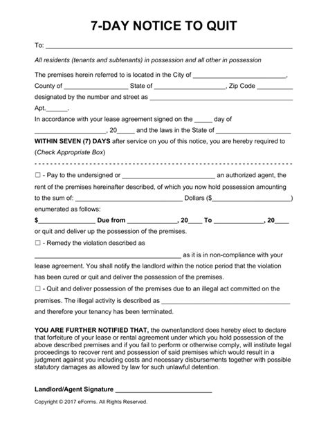 Free Seven (7) Day Eviction Notice Template - PDF   Word   eForms – Free Fillable Forms