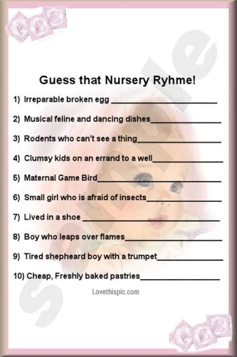 Nursery Rhymes Clothing by Name That Nursery Rhyme Baby Shower Game 2017 2018
