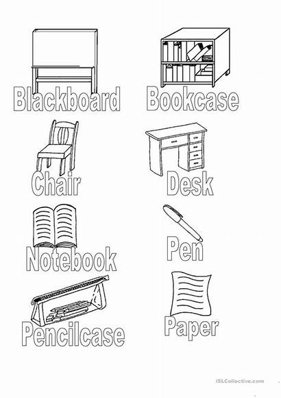 Classroom Clipart Objects Worksheet Desk Colouring Coloring