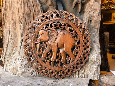 Buy Thai Wood Carving Wall Art Panel Asian Home Decor Online: Buy Lucky Elephant Wood Carving Wall Paneling Online