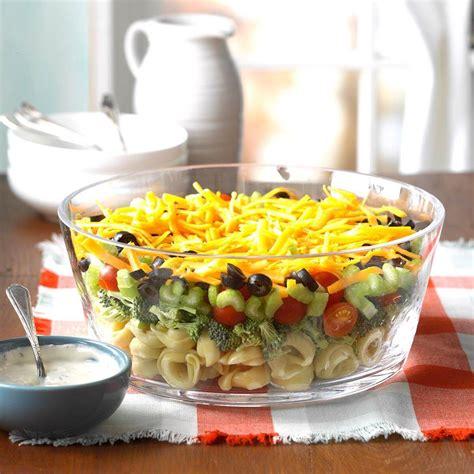 salad tortellini layered veggie july pasta salads fourth crowd taste recipes recipe tasteofhome