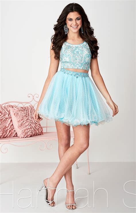 Hannah S 27138  Swiss Dot Short Dress Prom Dress