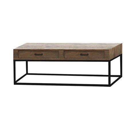 Table Basse Rectangulaire 4 Tiroirs  Naturel Interior's