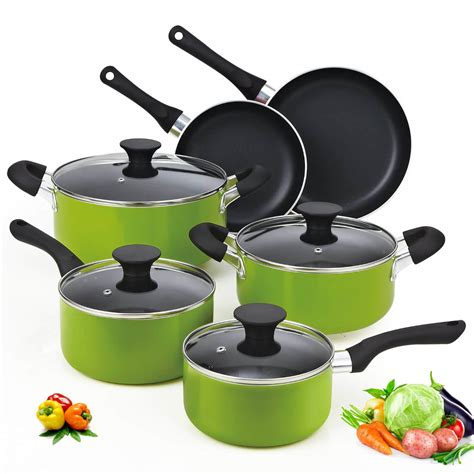 cookware nonstick aluminum cook cooking piece press non sets coating stick 10pcs pan induction nc classic creuset signature le layer