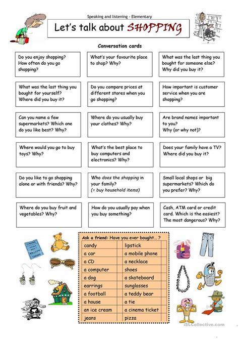 lets talk  shopping worksheet  esl printable