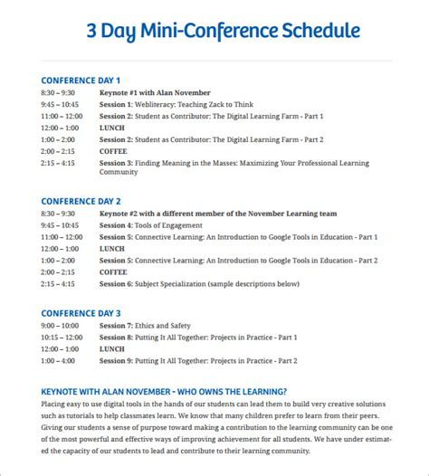 conference schedule template fee schedule template