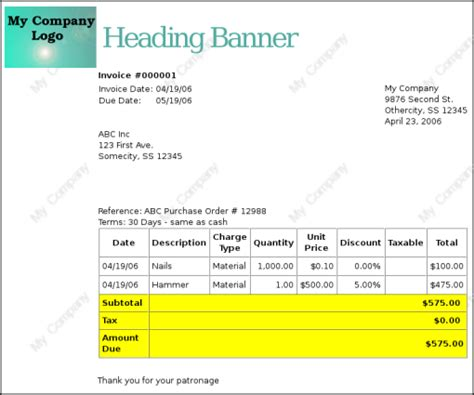 changing  invoice appearance