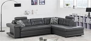 Canape Angle Cuir Gris : canap d 39 angle en cuir blanc prix canon ~ Teatrodelosmanantiales.com Idées de Décoration