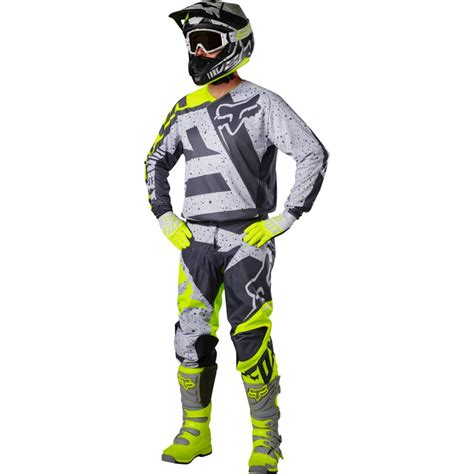 motocross pants and jersey fox 180 2017 nirv grey yellow pant motocard