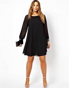 asos curve asos curve shift dress with embellished cuff in With robe pour petite femme