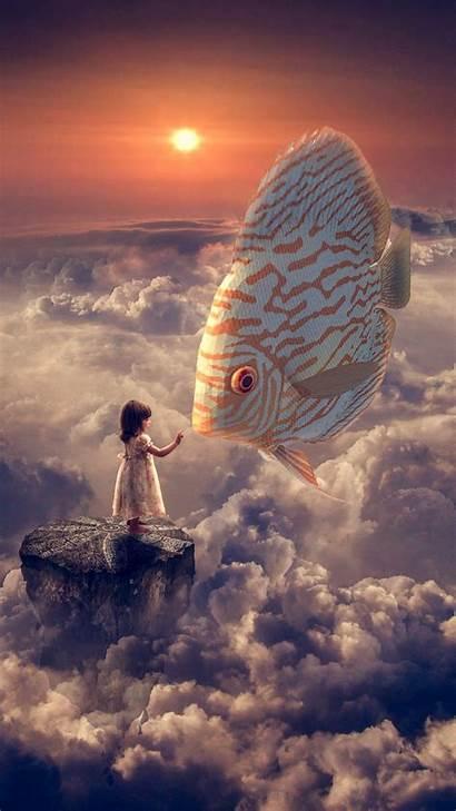Fantasy Wallpapers Fish Sky Clouds Iphone Phone