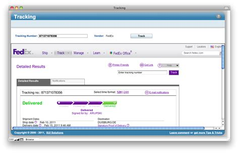 Tracking - Track you packages right from FileMaker