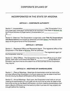 free arizona corporate bylaws template pdf word With llc bylaws template free