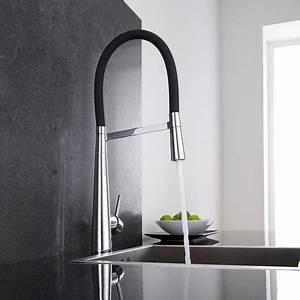 Grohe Küchenarmatur Mit Brause : k chenarmatur mit flexibler brause in schwarz und chrom ~ Watch28wear.com Haus und Dekorationen