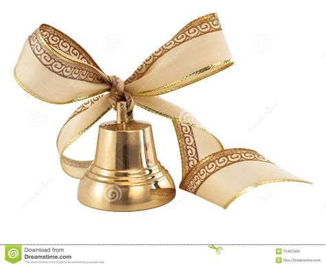 ribbon bell golden bell with a ribbon bow royalty free stock images