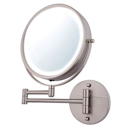 ovente wall makeup mirror battery operated led lighted 1x 7x magnification 8 5 inch