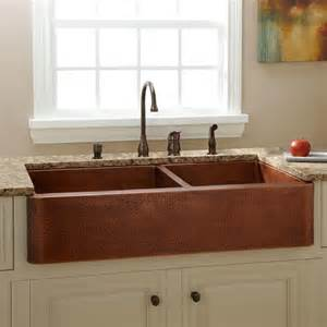 discount kitchen sink faucets 39 quot fiona 60 40 offset bowl hammered copper