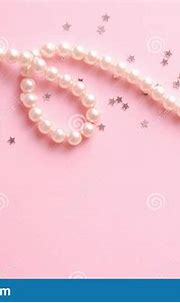 Pearls On Pastel Pink Background Stock Photo - Image of ...
