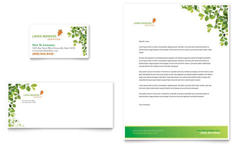 lawn mowing service business card letterhead template