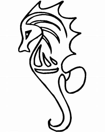 Seahorse Coloring Pages Sea Horse Drawing Starfish