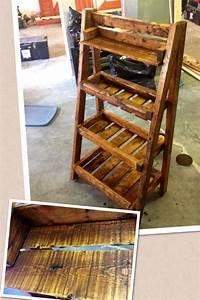 Pallet wood ladder shelf pallet ideas Pinterest