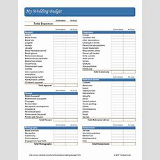 Free Printable Wedding Budget Worksheet (pdf) From Vertex42com  Wedding In 2019 Wedding