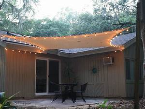 Exterior  Patio Sails Sun Shades With Light Over Black