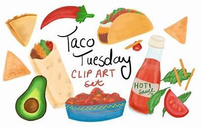 Clipart Burrito Taco Clip Tuesday Mexican Drawn