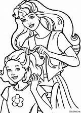 Coloring Pages Barbie Hairdressing sketch template